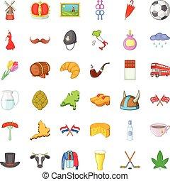 europa, stile, icone, set, cartone animato, viaggio