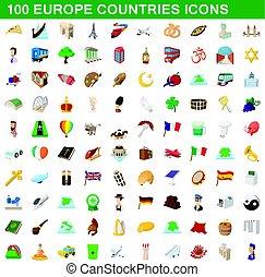 europa, stile, paesi, set, icone, 100, cartone animato