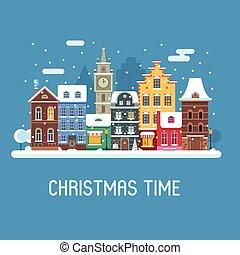 europa, straße, weihnachten