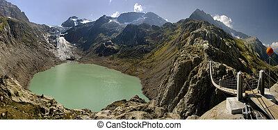 europa, supra-sumo, europe's, alpes, lago, soga, puente peatonal, suspensión, suiza, glacial, windegg, trift, situado, puente