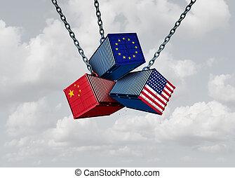 europa, unidas, comércio, estados, china, guerra