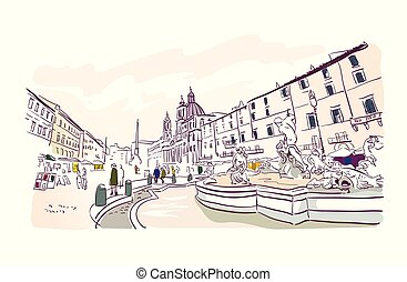 europa, vektor, piazza, illustration, rom, navona, turism, kort