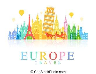 europa, viaje, landmarks.