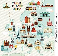 europa, viaje, map.
