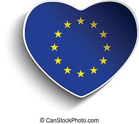 europa, vlag, hart, papier, sticker