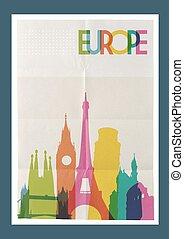europa, weinlese, reise, skyline, plakat, wahrzeichen