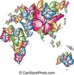 europa, wo, australia, afryka, azja