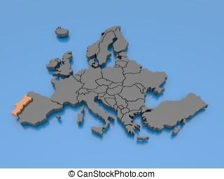 europa, -, yafaray, -, portogallo