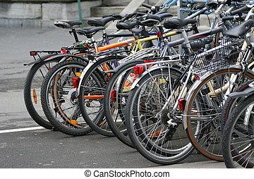 europa, zwitserland, lucerne, veel, van, fietsen, in, de, parkeerplaats, voor, fietsen
