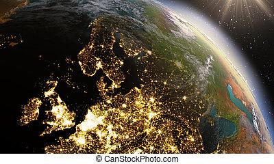 europe, éléments, meublé, ceci, image, zone., planète, nasa, la terre