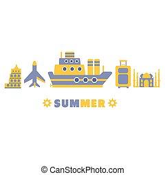 europe, été, ensemble, symboles, cinq, croisière, ligne
