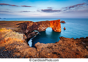 europe., ισλανδία , dyrholaey, εύρεση , καμάρα , sea., ακρωτήριο , μαύρο , ακάθιστος , καταπληκτικός , λάβα