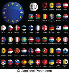 europe, 图标, 收集, 对, 黑色, 有光泽