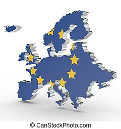 Europe 3D map isolated on white background