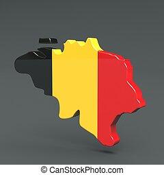 Europe 3D map of belgium isolated on dark background