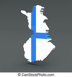Europe 3D map of finland isolated on dark background