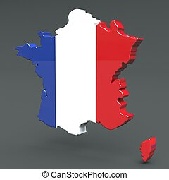 Europe 3D map of france isolated on dark background