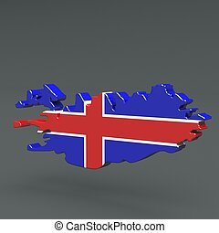 Europe 3D map of iceland isolated on dark background