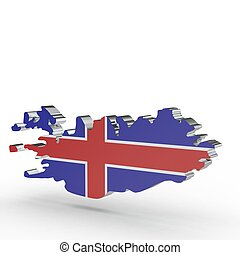 Europe 3D map of Iceland isolated on white background