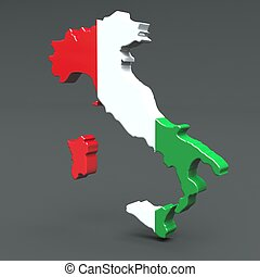 Europe 3D map of italy isolated on dark background