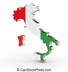 Europe 3D map of italy isolated on white background