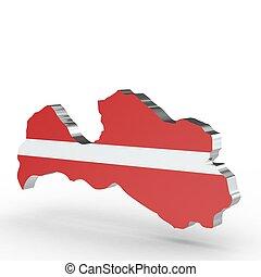 Europe 3D map of Latvia isolated on white background