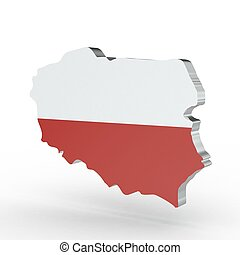 Europe 3D map of poland isolated on white background
