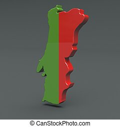 Europe 3D map of portugal isolated on dark background