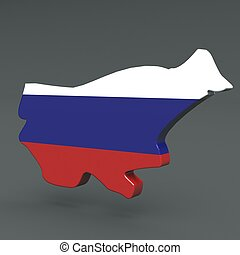Europe 3D map of russia isolated on dark background
