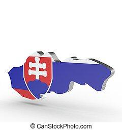 Europe 3D map of slowakia isolated on white background