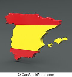 Europe 3D map of spain isolated on dark background