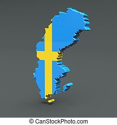 Europe 3D map of sweden isolated on dark background