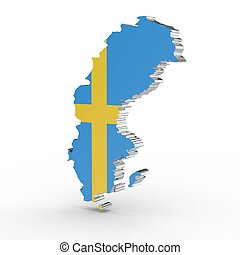 Europe 3D map of sweden isolated on white background