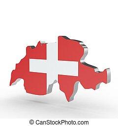 Europe 3D map of switzerland isolated on white background