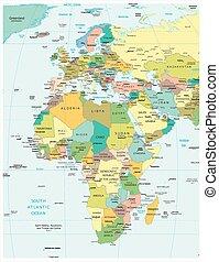 europe, afrique, politique, carte