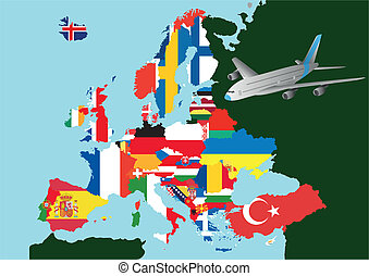 europe airplane - illustration of flag europe with airplane