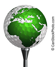 europe and africa continent on golf ball