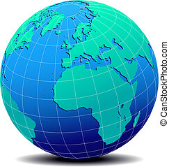 Europe and Africa, Global World - Vector Map Icon of the ...