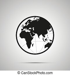 Europe and africa side of world map on globe, simple black icon