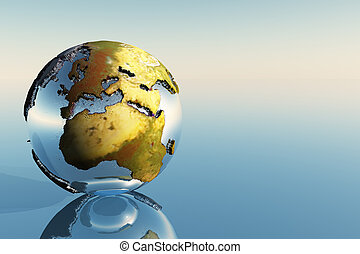EUROPE AND AFRICA - A world globe showing the continents of...