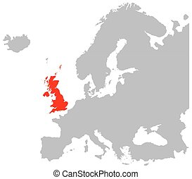 Europe And Britain In Red - A map of Europe in grey with...