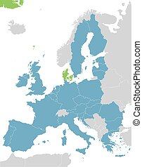 Europe and European Union map with indication of Denmark