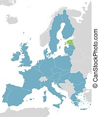 Europe and European Union map with indication of Estonia