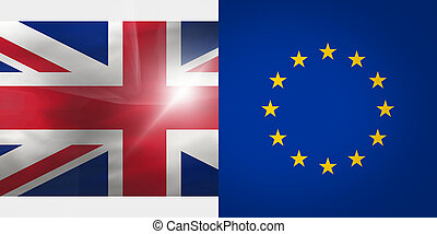 Europe and United Kingdom Flags Background