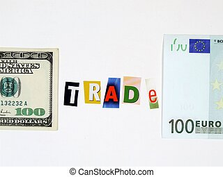 Europe and USA trade concept - Conceptual photo of European...