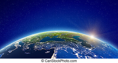Europe and West Asia. Elements of this image furnished by NASA. 3d rendering