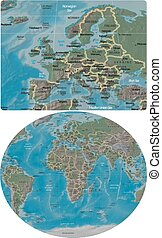 Europe and World maps