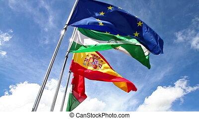 Europe Andalusia Granada and Spain - Europe flag, Andalusia...