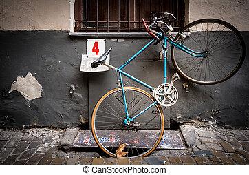 europe., antigas, rua, estacionado, bicicleta, budapest