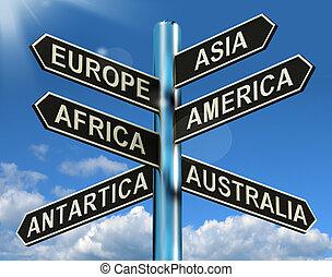 Europe Asia America Africa Antartica Australia Signpost...